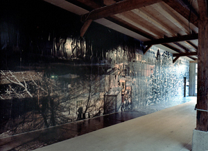 Temporary Discomfort  IV, Installation view, Kunstraum Walcheturm, Zurich-CH 23.1 - 13.2. 2003. World Economic Forum. Live discontinuous panorama composed of 1446 still shots over 6 days. © Jules Spinatsch, See the photographer's website for details.