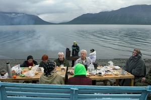 Adults often gather for weekends in their holiday villages. They stay in small dachas which are situated in the tundra 30 km from Norilsk or on the shores of the legendary Lama lake. Barbecues and parties are organized throughout the summer. © Elena Chernyshova