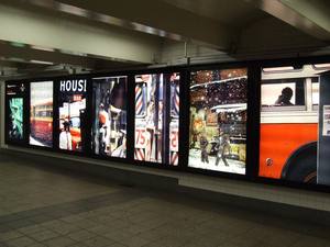 Saul Leiter photo exhibition, Bryant Park/42nd Street subway station, New York, installation photograph © 2007 John Barnes