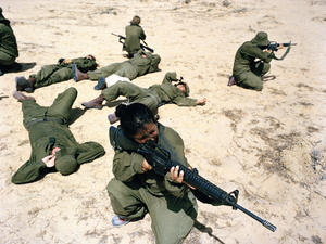 "Defense training in the event of a suicide attack, Southern Israel, 2005. From the series ""Serial No. 3817131"" © Rachel Papo"
