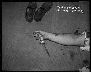 Shoes, arm and knife, 23 September 1950. Photographer: P.B. © LAPD, Image courtesy of Fototeka, Paris Photo LA
