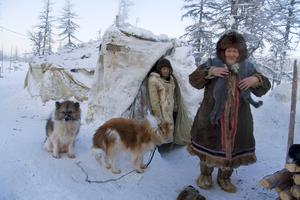 Irina Afonasyevna and reindeer herder Kostya Misha. Allaiha. February. 2008 © Evgenia Arbugaeva