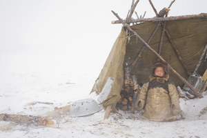 Denis in the camp by family teepee. Cherskiy. May, 2008 © Evgenia Arbugaeva