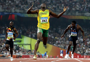 2nd prize Sports Action Singles. © Mark Dadswell, Australia, Getty Images. Usain Bolt wins mens 200m final at Beijing Olympic Games, 20 August