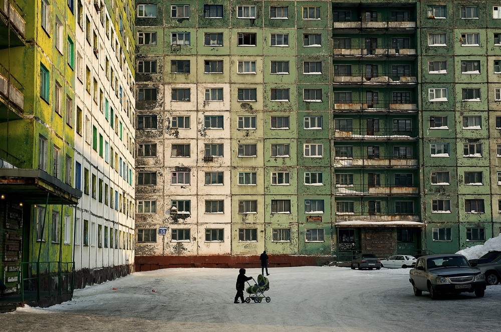 "The majority of the buildings in Norilsk, Russia, are constructed with pre-built panels. These buildings were called ""Gostinka"" and were considered temporary accommodations for newly arrived workers, but many of them became permanent dwellings and remain today. © Elena Chernyshova"