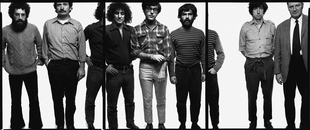 The Chicago Seven: Lee Weiner, John Froines, Abbie Hoffman, Rennie Davis, Jerry Rubin, Tom Hayden, Dave Dellinger, Chicago, September 25, 1969, © 2008 The Richard Avedon Foundation