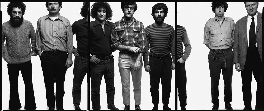 The Chicago Seven: Lee Weiner, John Froines, Abbie Hoffman, Rennie Davis, Jerry Rubin, Tom Hayden, Dave Dellinger, Chicago, September 25, 1969, © 2008 The Richard Avedon Foundation