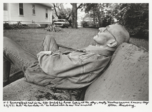 W. S. Burroughs at rest in the side-yard of his house looking at the sky, empty timeless Lawrence Kansas May 28, 1991. But the car dates it he noticed when he saw this snapshot. © Allen Ginsberg