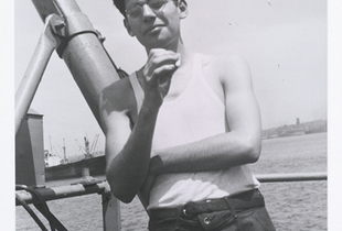 Allen Ginsberg, utility man S.S. John Blair, just back from Galveston-Dakar doldrums trip, I handed my camera to the radio-man on the ships fantail, smoking what? In New York harbor, circa October 30, 1947 © Allen Ginsberg