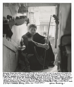 "Gregory Corso, his attic room 9 Rue Gît-Le-Coeur, wooden angel hung from wall right, window looked on courtyard and across Seine half-block away to spires of St. Chapelle on Ile St. Louis Gregorys ""Gasoline"" was ready at City Lights, in attic he  prepared Marriage, Power, Army, Police, Hair and Bomb for ""Happy Birthday of Death"" book. Henri Michaux visited, liked Corsos Mad Children of soda-caps phrasing. Burroughs came from Tangier to live one flight below, shaping ""Naked Lunch"" manuscript, Peter Orlovsky and I had window on street two flights downstairs, room with two-burner gas stove, we ate together often, rent $30 a month. Id begun Kaddish litany, Peter his First Poem. © Allen Ginsberg"