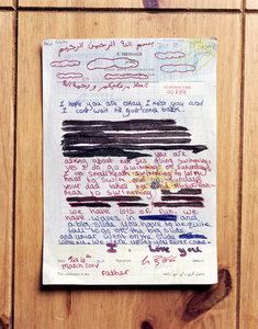 "Redacted Letter From Daughter at the Home of Former Detainee from ""If The Light Goes Out: Home from Guantanamo"" © Edmund Clark"