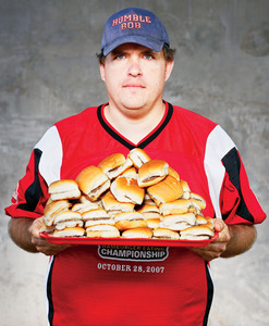 Bob Shoudt. 2nd, World Hamburger Eating Championship. Chattanooga, Tennessee © Sandy Nicholson