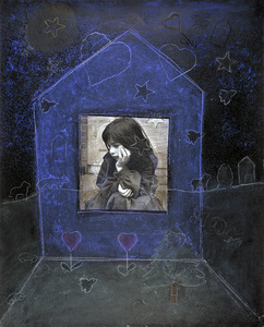 Julia and the Window of Vulnerability,(I) 1983 [blue background] © Joanne Leonard. Collection of René di Rosa