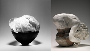 (left) Cabbage, 1985 © Robert Mapplethorpe Foundation. Used by permission. (right) Assemblage: nu feminin sortant d'un pot, vers 1900-1904 © Paris, musee Rodin