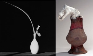 (left) Orchid, 1982 © Robert Mapplethorpe Foundation. Used by permission. (right) Assemblage: nu feminin a tete de femme slave, emergeant d'un vase, vers 1900 © Paris, musee Rodin