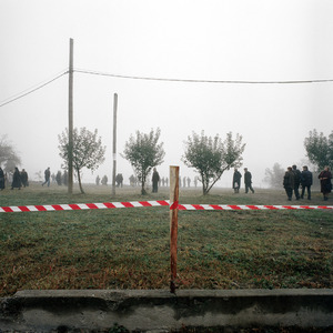 People gathering  in the grounds of Vukovar Cathedral. © Colin Dutton