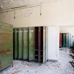 Workers lockers at the Borovo shoe factory. © Colin Dutton