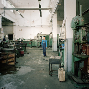 Young apprentice at the Borovo shoe factory where he will learn machining skills. © Colin Dutton