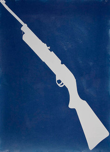 "BB Gun, 2010, Cyanotype, 22""x 30"", © Alex Emmons"