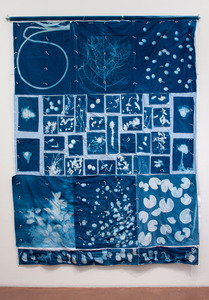 The Shed, 2010, Cyanotype, Quilt, Recycled Fabric, 8'x 12', © Alex Emmons