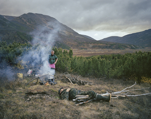 Camping with Sasha and Paval. Kamchatka Peninsula. Far East Russia, October 2004 From the book, Motherland, by Simon Roberts © Simon Roberts