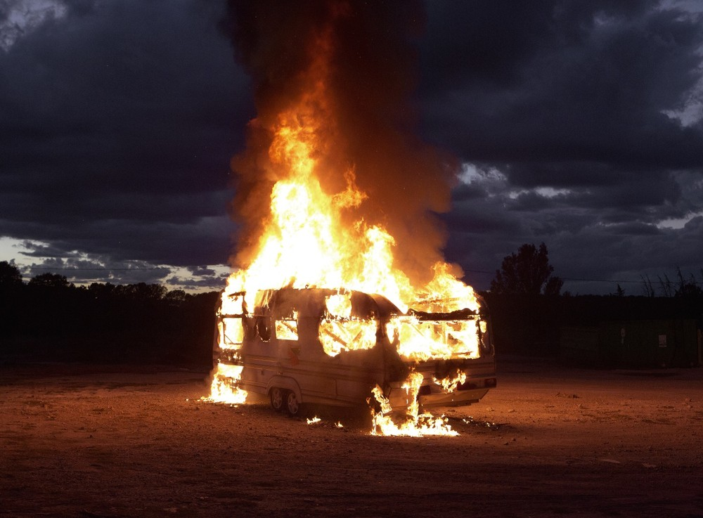 "Caravan, 2013. From the series ""Fire"" © Mathieu Pernot"