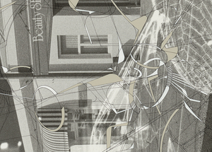 """Detail of """"Traceryscape - NZ215"""", painting on gelatin-silver print, from the series Traceryscape © Aki Lumi"""