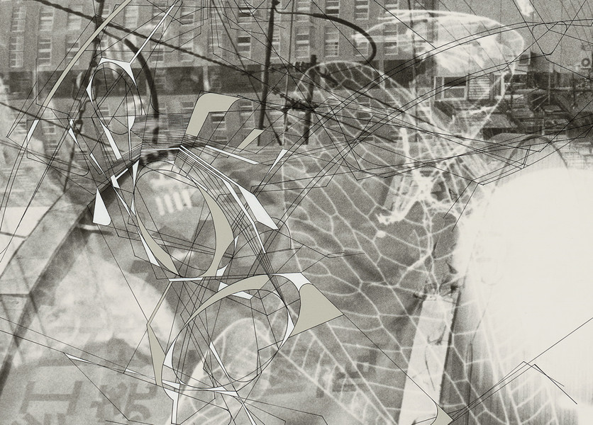 "Detail of ""Traceryscape - SH521"", painting on gelatin-silver print, from the series Traceryscape © Aki Lumi"