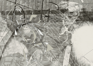 """Detail of """"Traceryscape - SH521"""", painting on gelatin-silver print, from the series Traceryscape © Aki Lumi"""