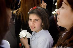 Armenia Yerevan,  girl at the commemoration  at the Genocide  Memorial    © Bert Spiertz