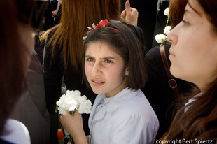 Armenia Yerevan,  girl at the commemoration  at the Genocide  Memorial    © Bert Spiertz
