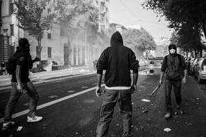 Rioters seen during the urban guerilla of  15 October 2011. © Riccardo Budini / UnFrame