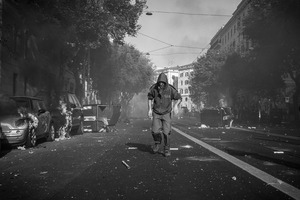 A rioter seen during the urban guerilla  of 15 October 2011. © Riccardo Budini / UnFrame