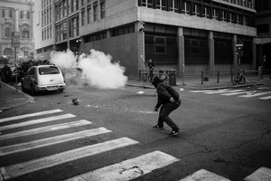 The Ministry of Economy is attacked by a group of rioters, some of whom threw crude homemade explosive devices. 19 October 2013. © Riccardo Budini / UnFrame