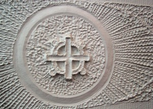Several original designs can be found along the plaster walls on the main floor of the church. © Nicholas Gregory