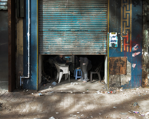 The shutters of traders are lowered due to the escalation of violence in the days after January 25. The fear of tear gas has prevented many people from leaving their homes. © Domenico D'Alessandro