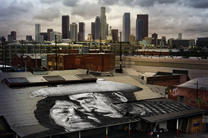 © JR, The Wrinkles of the City, Los Angeles, Lovers on the Roof, USA, 2012. Perrotin