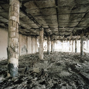 Damaged building in the Borovo shoe factory. © Colin Dutton