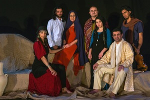 "The cast of ""Kheil Tayha"" (Lost Horses) - Yasmin Hammar, Ihab Zahdeh (director), Reem Talhami, Raed Al Shyoukhi, Hanin Taraby, Mohammed Titi and Noor Al Raee (music) - after the final dress rehearsal. ""Kheil Tayha,"" by Adnan Al Odeh, weaves together stories and songs about love, sadness, passion and longing reflecting on the life and traditions in the ash-Sham desert.  © David Brunetti"