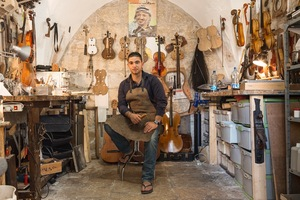 Shehada Shalalda is a violin maker.When the Al Kamandjâti music school opened next to his family home in the old city of Ramallah, Shehada could hear the music accross the yard sparking his interest to pick up the violin. He was always curious about the instruments and shadowed visiting violin makers before studying in the UK. © David Brunetti