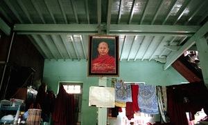 Mandalay, Myanmar, 2013. One of dozens of Wirathu's portraits that hang in his Monastery. © Spike Johnson