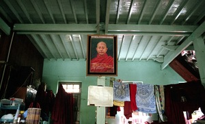 Mandalay, Myanmar, 2013. One of dozens of Wirathu's portraits that hang in his Monastery. © Spike Johnson