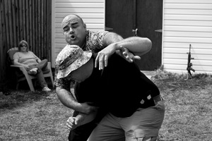 """Dallas, Texas, 2011. Throwing punches, blocking kicks and swinging sticks the Texas Survivalists also learn to defend themselves without the use of firearms. """"I began learning this stuff years ago"""" says Ralph Severe """"I really wanted to fuck people up."""" © Spike Johnson"""
