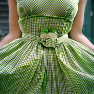 The Cut Apple and Gingham Dress, Self Portrait.  Clark's Island, Maine, 2003. © Cig Harvey.