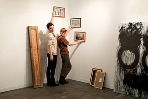 Anne de Villepoix, Armory Show 2011  Artists: Ion Barladeanu, Joyce Pensato  © Andy Freeberg