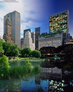 Night & Day - Central Park Pond and Plaza Hotel - © Andrew Prokos - http://andrewprokos.com