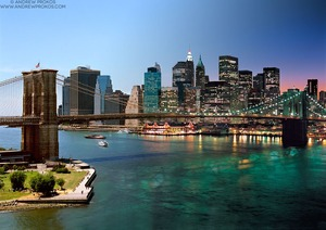 Night & Day - Brooklyn Bridge and Lower Manhattan #2 - © Andrew Prokos - http://andrewprokos.com