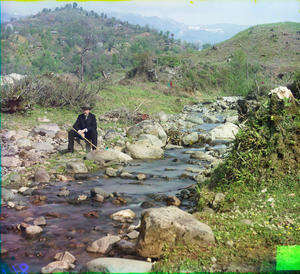 "On the Skuritzkhali River, Caucasus, between 1905 and 1915 © Sergei Mikhailovich Prokudin-Gorskii, from the book ""Nostalgia"". Images courtesy US Library of Congress and Gestalten publishers, Berlin."