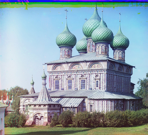 "Church of the Resurrection in the Grove of Kostroma, Russia, 1911 © Sergei Mikhailovich Prokudin-Gorskii, from the book ""Nostalgia"". Images courtesy US Library of Congress and Gestalten publishers, Berlin."