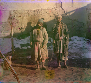 "Two Prisoners in Shackles, between 1905 and 1915 © Sergei Mikhailovich Prokudin-Gorskii, from the book ""Nostalgia"". Images courtesy US Library of Congress and Gestalten publishers, Berlin."
